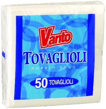 VANTO – TOVAGLIOLI 2 VELI 38X38 BIANCHI 50PZ