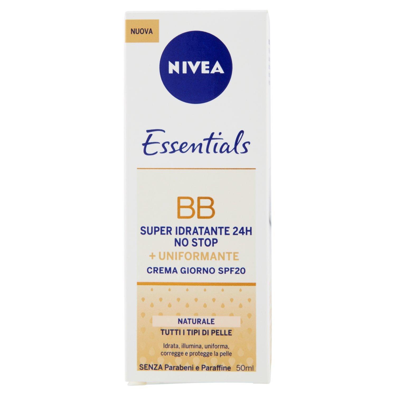 Nivea Essentials BB Cream Super Idratante 24H Uniformante, Crema Giorno Viso Colore Naturale 50 ml