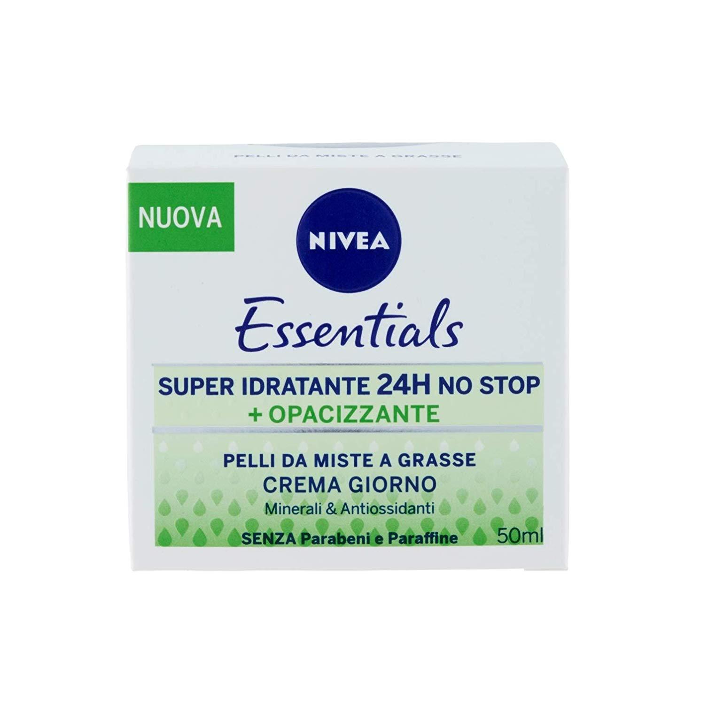 Nivea Essentials Super Idratante 24H Opacizzante, Crema Giorno Viso per Pelli da Miste a Grasse, 50 ml