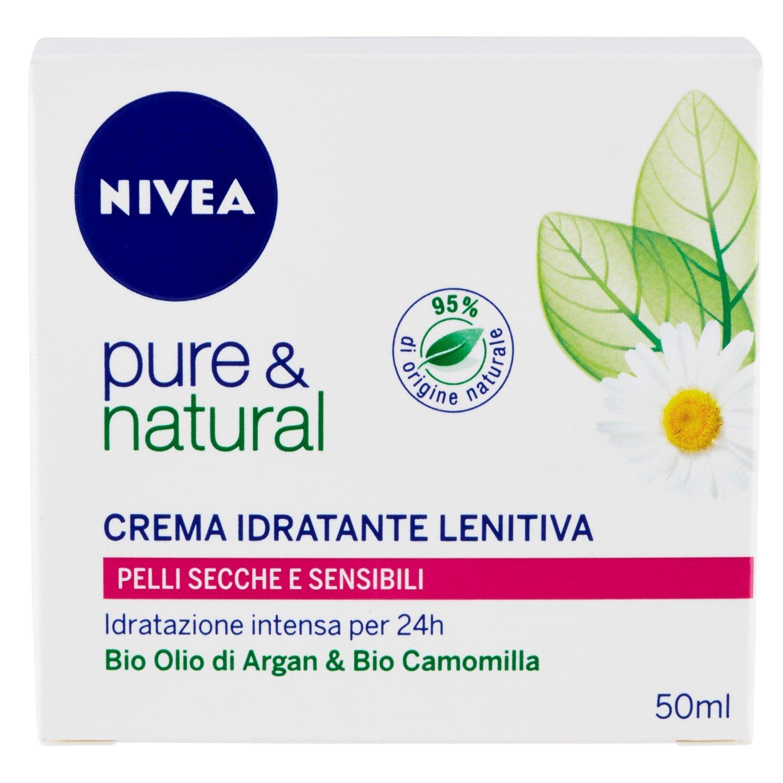 Nivea Pure & Natural Crema Idratante Lenitiva Viso per Pelli Secche e Sensibili 50 ml