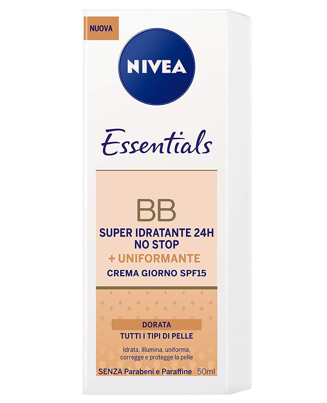 Nivea Essentials BB Cream Super Idratante 24H Uniformante Crema Giorno Viso SPF 15 Colore Dorato 50 ml