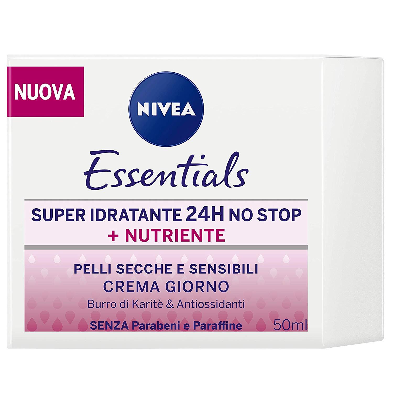 Nivea Essentials Super Idratante 24H Nutriente, Crema Giorno Viso per Pelli Secche e Sensibili 50 ml