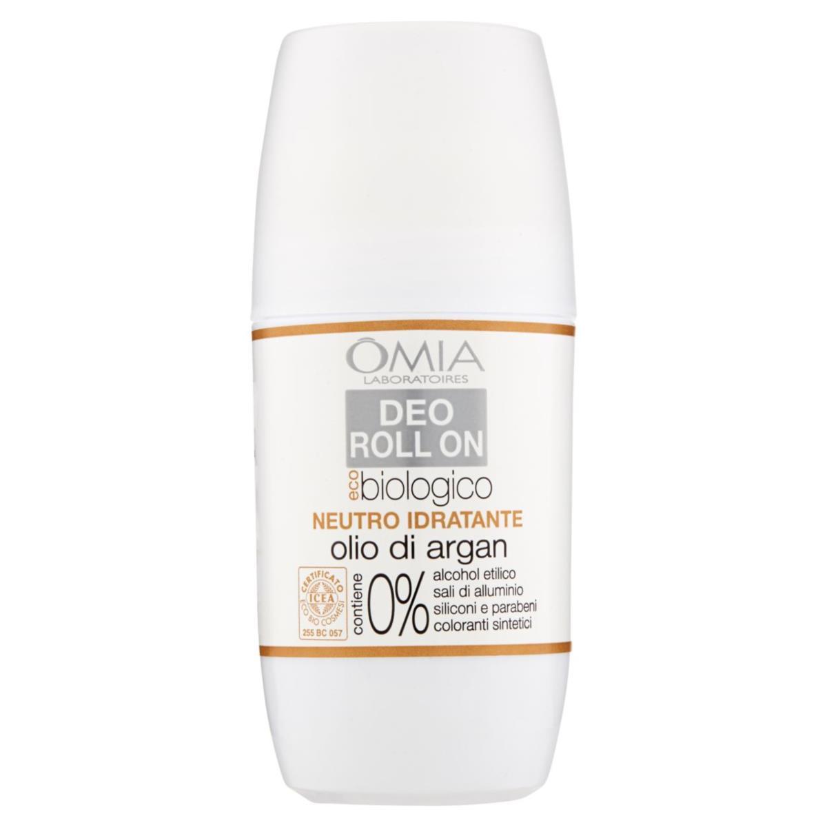 OMIA Deodorante Roll On Eco-biologico Neutro Idratante all'olio d'Argan 50ml