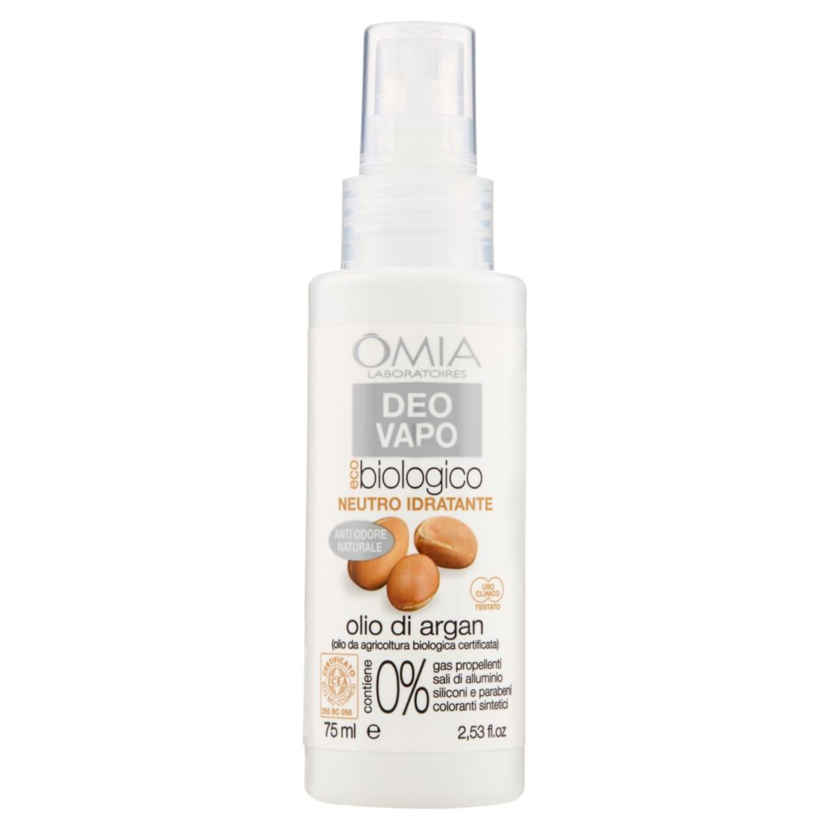 OMIA Deodorante Vapo Eco-biologico Neutro Idratante olio di argan 75 ml